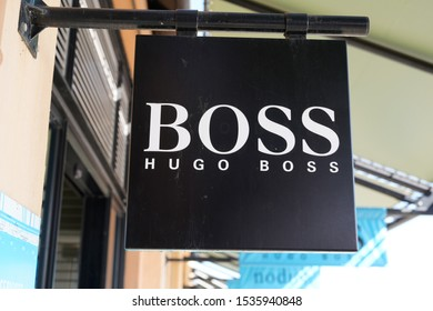Bordeaux , Aquitaine / France - 10 17 2019 : Hugo Boss shop sign store German luxury fashion logo and style house