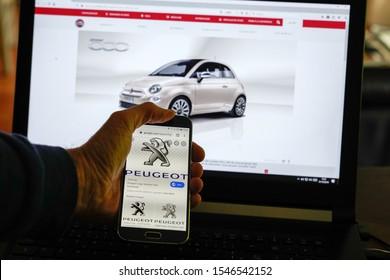 Bordeaux , Aquitaine / France - 10 28 2019 : peugeot fiat  find an alliance of car manufacturers automobiles