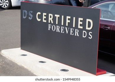 Bordeaux , Aquitaine / France - 10 30 2019 : DS car certified sign second hands used cars automobiles forever DS advertising