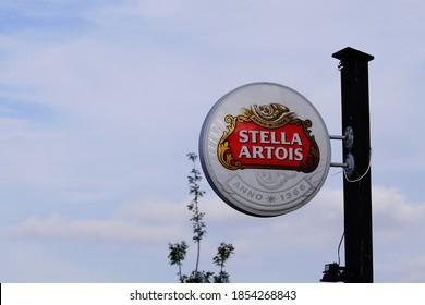 Bordeaux , Aquitaine / France - 11 08 2020 : stella Artois sign text and logo for pub beer Belgian bar restaurant