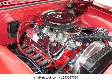 Bordeaux , Aquitaine / France - 11 13 2019 : chevrolet impala engine details motor of a classic american car