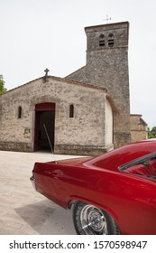 Bordeaux , Aquitaine / France - 11 19 2019 : chevrolet impala classic car Classic back near ancient old french church