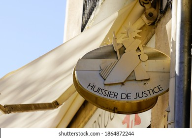Bordeaux , Aquitaine  France - 11 21 2020 : huissier de justice logo and text sign in france means office bailiff in French