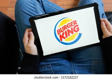 Bordeaux , Aquitaine / France - 11 25 2019 : Burger King tablet screen sign logo shop restaurant popular fast food franchise store