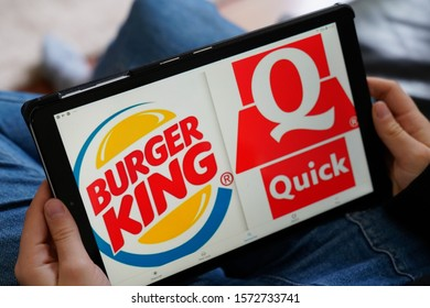 Bordeaux , Aquitaine / France - 11 25 2019 : Burger King quick sign logo seen on tablet screen app application fast food delivery business