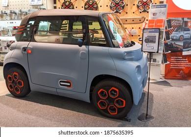 Bordeaux , Aquitaine  France - 12 12 2020 : Citroen Ami electric car tiny cube on wheels vehicle