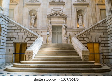 Bordeaux, France, 11 May 2018: Interior of the Opera house with stairs