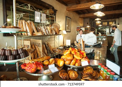 BORDEAUX, FRANCE 11 th of SEPTEMBER 2016: Traditional french bakery with different kinds of bread, cakes and buns. Bordeaux, Aquitaine, France