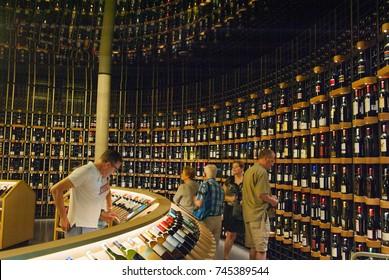 BORDEAUX, FRANCE 11 th of SEPTEMBER 2016: La Cite du Vin. . People visiting the wine museum of Bordeaux near to Garonne River. Bordeaux, Aquitaine, France