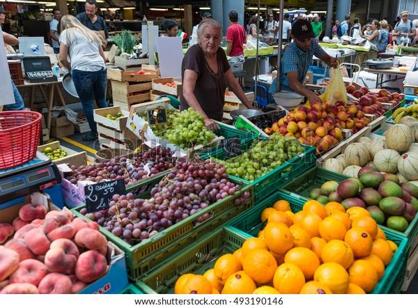 BORDEAUX, FRANCE- August 28, 2016: Fresh fruit and vegetable for sale at the Capucins food market in Bordeaux, France