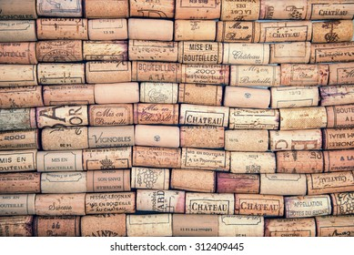 BORDEAUX, FRANCE - AUGUST 3 : Wine corks illustrative editorial background, on August 3, 2015 in Bordeaux, France