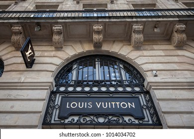 BORDEAUX, FRANCE - DECEMBER 27, 2017: Louis Vuitton Logo on their local shop in Bordeaux.  Louis Vuitton is a fashion house manufacturer and luxury retail company from France