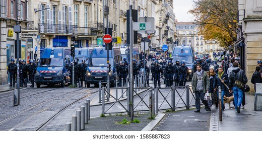 Bordeaux, France - December 7th 2019 : Mobile Gendarmerie squad and Police blocking the streets during a Yellow Vests and Union demonstration against President Macron government