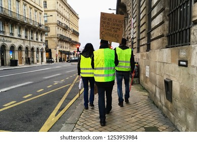 Bordeaux, France - December 8, 2018: yellow vest protests against increase taxes on gasoline and diesel introduced government of France