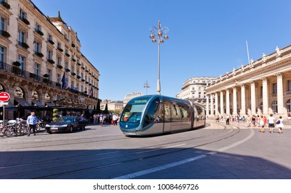 Bordeaux, France - January 23, 2018: City street scene with tramway in Bordeaux, France.