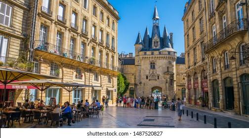 Bordeaux, France - July 2019 : Place du Palais and it famous Porte Cailhau in Bordeaux