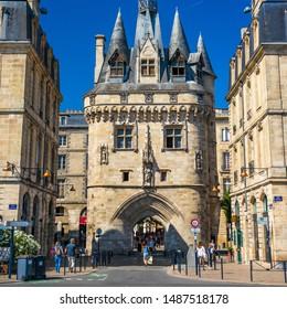 Bordeaux, France - July 2019 : Porte Cailhau, a famous medieval gate of the old city walls of Bordeaux