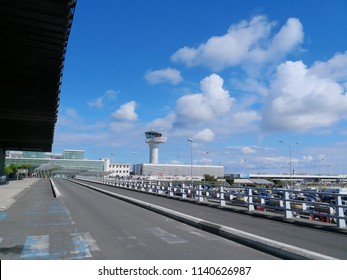 BORDEAUX, FRANCE - July 22, 2018: Merignac airport departure area with blue sky and clouds