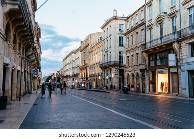 Bordeaux, France - July 22, 2018: Pedestrian street in historic centre of the city. Cours de l'Intendance