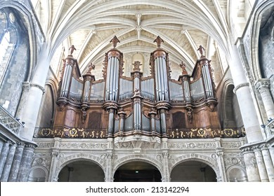 BORDEAUX, FRANCE - JULY 31: Pipe organ of the Cathedral of Bordeaux, France, on July 31, 2014.