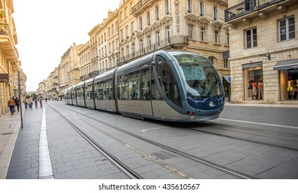 Bordeaux, France, June 12, 2016 : Tram passing at COURS INTENDANCE, main street in the center of Bordeaux,