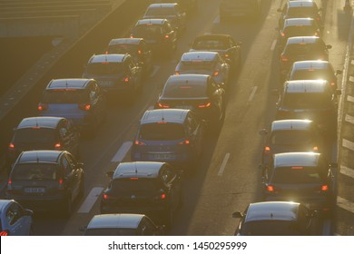 Bordeaux / France - June 20, 2019: Lifestyle of big city. Traffic jam in summer sunset. Big traffic on the city street. Cars stand in a traffic jam exactly in a row. Patience. High resolution image.