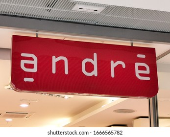 BORDEAUX, FRANCE, March 07, 2020 : Andre shoe store brand logo sign on facade of french footwear company retailer