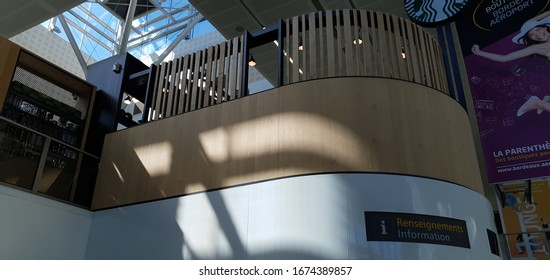 Bordeaux, France, March, 15, 2020: Bordeaux airport facilities practically empty due to the COVID-19 coronavirus pandemic