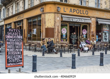 Bordeaux, France - March 25, 2016. People in the bar terrace of Apollo cafe in Place Fernand Laffargue square, Bordeaux. Aquitaine. France.