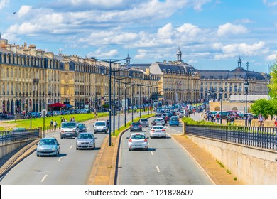 BORDEAUX, FRANCE, MAY 14, 2017: Traffic at Quai Richelieu in Bordeaux, France
