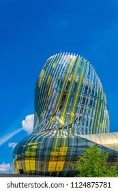 BORDEAUX, FRANCE, MAY 14, 2017: Cité du vin, a wine museum, in Bordeaux, France