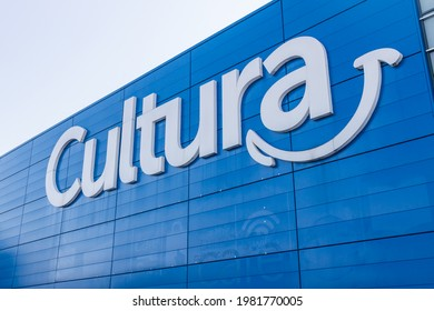 Bordeaux, France - May 2021 : Cultura logo on the front of the store specializing in the sales of cultural and creative goods and leisure activities