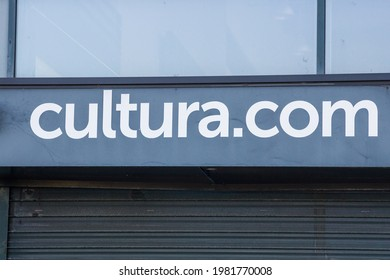 Bordeaux, France - May 2021 : cultura.com logo on the front of the store specializing in the sales of cultural and creative goods and leisure activities