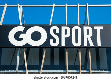Bordeaux, France - May 2021 : Go Sport logo on the front of the store specializing in the sale of sports clothing and equipment