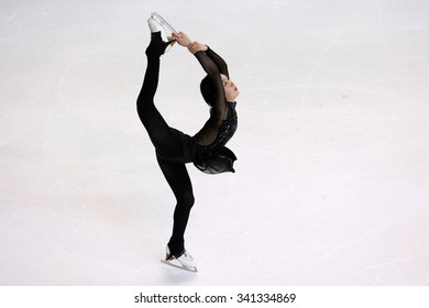 BORDEAUX, FRANCE - NOVEMBER 13, 2015: Kanako MURAKAMI of Japan performs short program at Trophee Bompard ISU Grand Prix at Patinoire Meriadeck Arena.