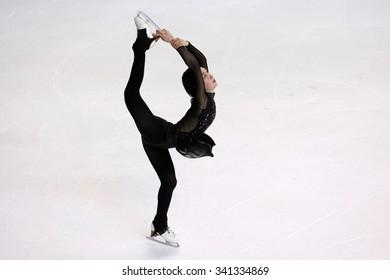 BORDEAUX, FRANCE - NOVEMBER 13, 2015: Kanako MURAKAMI of Japan performs short program at Trophee Bompard ISU Grand Prix at Patinoire Meriadeck Arena.