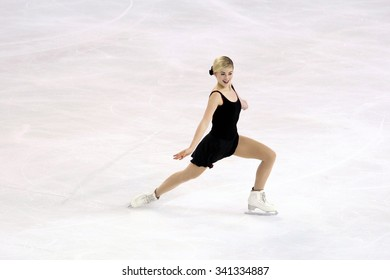 BORDEAUX, FRANCE - NOVEMBER 13, 2015: Gracie GOLD of USA performs short program at Trophee Bompard ISU Grand Prix at Patinoire Meriadeck Arena.
