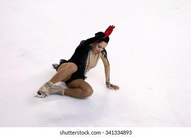 BORDEAUX, FRANCE - NOVEMBER 13, 2015 : Elizaveta TUKTAMYSHEVA of Russia performs short program at Trophee Bompard ISU Grand Prix at Patinoire Meriadeck Arena.