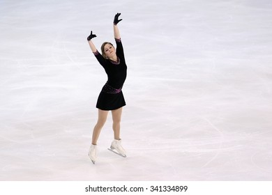 BORDEAUX, FRANCE - NOVEMBER 13, 2015: Julia LIPNITSKAIA  of Russia performs short program at Trophee Bompard ISU Grand Prix at Patinoire Meriadeck Arena.