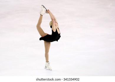 BORDEAUX, FRANCE - NOVEMBER 13, 2015: Gracie GOLD of USA performs short program at Trophee Bompard ISU Grand Prix at Patinoire Meriadeck Arena.