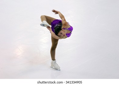 BORDEAUX, FRANCE - NOVEMBER 13, 2015: Gabrielle DALEMAN of Canada performs short program at Trophee Bompard ISU Grand Prix at Patinoire Meriadeck Arena.