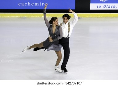 BORDEAUX, FRANCE - NOVEMBER 13, 2015: Alisa AGAFONOVA / Alper UCAR of Turkey perform short dance at Trophee Bompard ISU Grand Prix at Patinoire Meriadeck Arena.