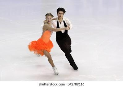 BORDEAUX, FRANCE - NOVEMBER 13, 2015: Alexandra STEPANOVA / Ivan BUKIN of Russia perform short dance at Trophee Bompard ISU Grand Prix at Patinoire Meriadeck Arena.