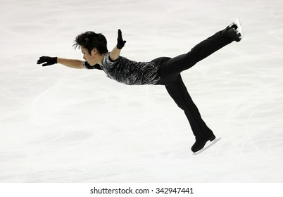 BORDEAUX, FRANCE - NOVEMBER 13, 2015: Shoma UNO of Japan performs short program during the official training at Trophee Bompard ISU Grand Prix at Patinoire Meriadeck Arena.
