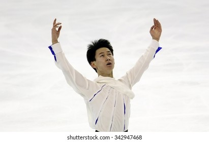 BORDEAUX, FRANCE - NOVEMBER 13, 2015: Denis TEN of Kazakhstan performs short program during the official training at Trophee Bompard ISU Grand Prix at Patinoire Meriadeck Arena.