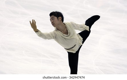 BORDEAUX, FRANCE - NOVEMBER 13, 2015: Daisuke MURAKAMI of Japan performs short program during the official training at Trophee Bompard ISU Grand Prix at Patinoire Meriadeck Arena.