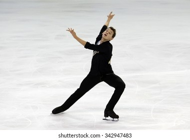 BORDEAUX, FRANCE - NOVEMBER 13, 2015: Maxim KOVTUN of Russia performs short program during the official training at Trophee Bompard ISU Grand Prix at Patinoire Meriadeck Arena.