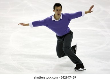 BORDEAUX, FRANCE - NOVEMBER 13, 2015: Patrick CHAN of Canada performs short program during the official training at Trophee Bompard ISU Grand Prix at Patinoire Meriadeck Arena.