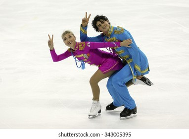 BORDEAUX, FRANCE - NOVEMBER 13, 2015: Piper GILLES / Paul POIRIER of Canada perform short dance during the official training at Trophee Bompard ISU Grand Prix at Patinoire Meriadeck Arena.