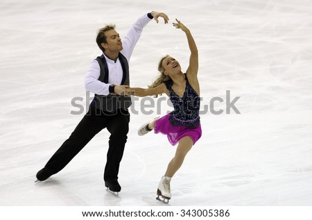 BORDEAUX, FRANCE - NOVEMBER 13, 2015: Penny COOMES / Nicholas BUCKLAND of Great Britain perform short dance during the official training at Trophee Bompard ISU Grand Prix at Patinoire Meriadeck Arena.